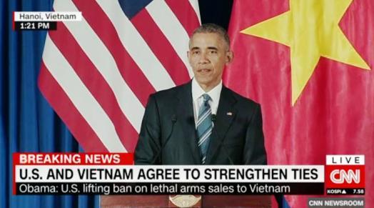 สื่อต่างประเทศรายงานข่าวการประกาศยกเลิกคำสั่งห้ามขายอาวุธให้เวียดนามของประธานาธิบดีสหรัฐ