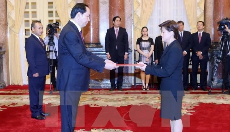 クアン国家主席、シンガポール大使と会見