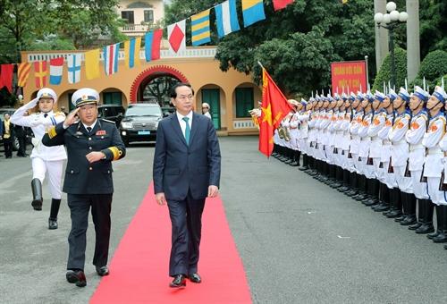 Presiden Tran Dai Quang mengucapkan selamat Hari Raya Tet di kota Hai Phong
