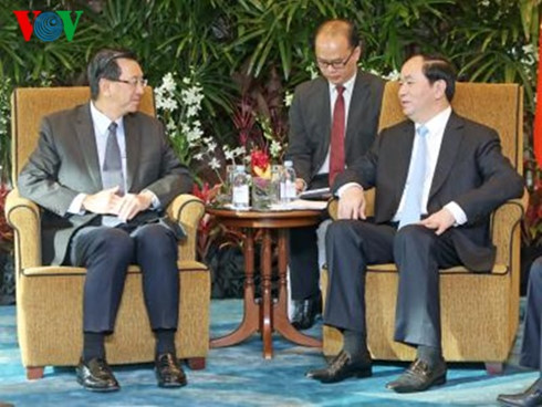 President Quang receives leaders of Singapore's major groups