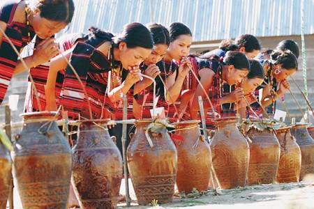 戈豪族生活中的喝竹竿酒仪式