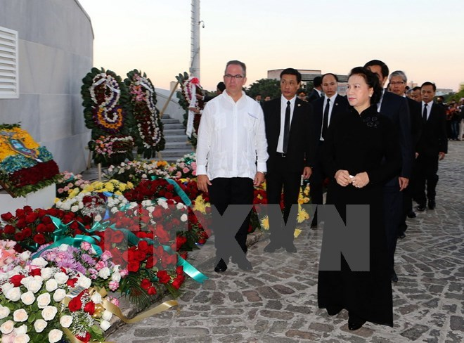 Vietnam's Party and State leaders pay tribute to Fidel Castro