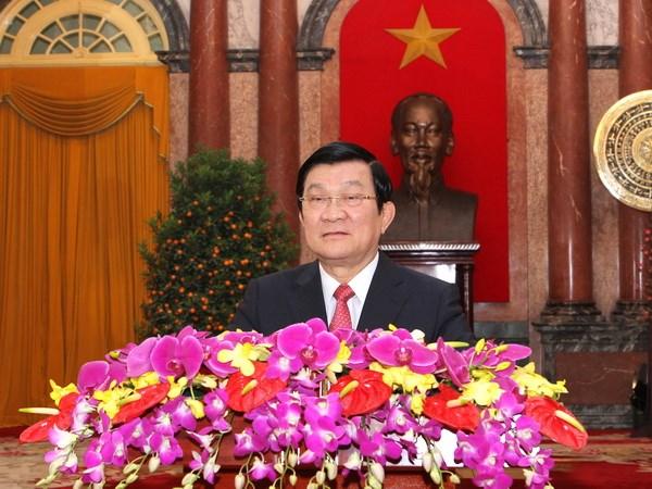 Новогоднее поздравление президента Социалистической Республики Вьетнам Чыонг Тан Шанга