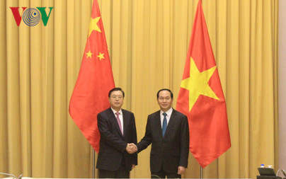 President Tran Dai Quang receives leader of National People's Congress of China
