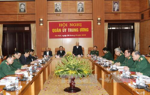 Party leader Nguyen Phu Trong attends Central Military Commission's meeting