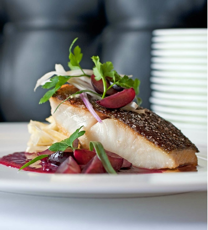 Sea bass with coconut broth