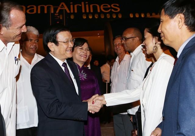 Chủ tịch nước Trương Tấn Sang đến La Habana, thăm chính thức Cuba