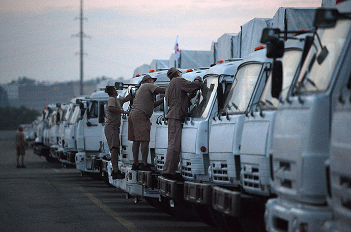 Russian trucks carrying humanitarian aid to arrive in Ukraine