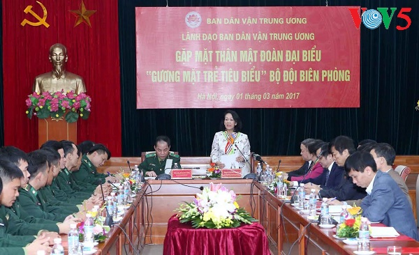 Party official meets border soldiers
