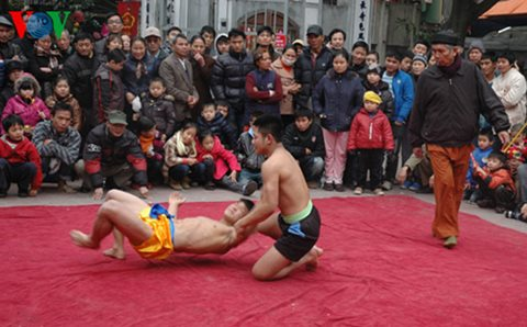 Mai Dong wrestling village in spring
