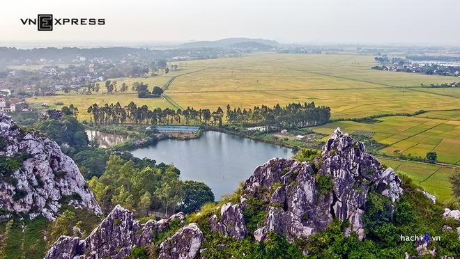 Mùa lúa chín vàng dưới chân núi Trầm ở ngoại ô Hà Nội