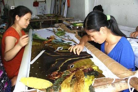 Historia de la aldea de los bordados de Quat Dong en Hanoi