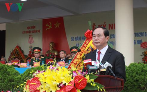 Presiden Tran Dai Quang menghadiri acara peringatan ultah ke-50 berdirinya Akademi Teknik Militer