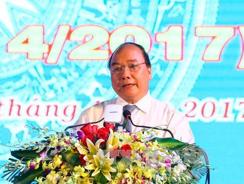 阮春福出席朔庄省重新建省25周年纪念大会