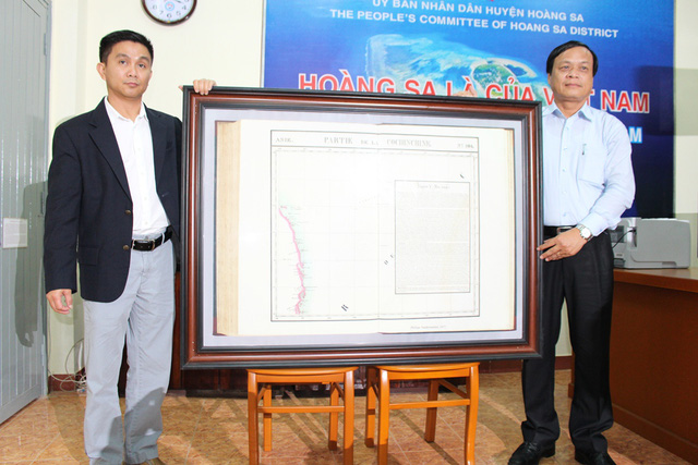 kabupaten hoang sa, kota da nang menerima peta yang berharga tentang hoang sa yang dihadiahkan oleh  seorang diaspora vietnam hinh 0