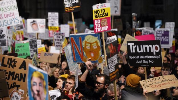 UK protests against Donald Trump's immigration ban