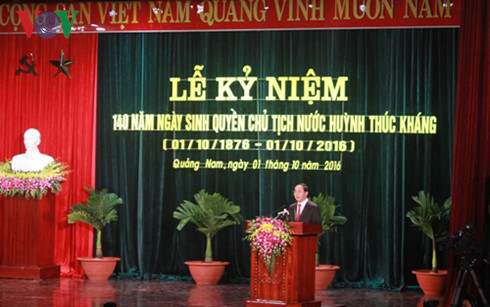 Ceremony marks 140th birth anniversary of Acting President Huynh Thuc Khang