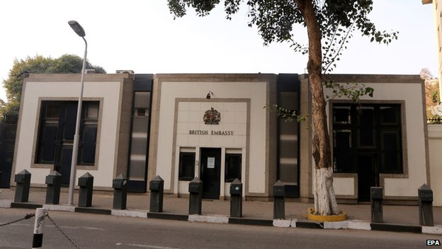British embassy in Cairo suspends public services because of security concerns