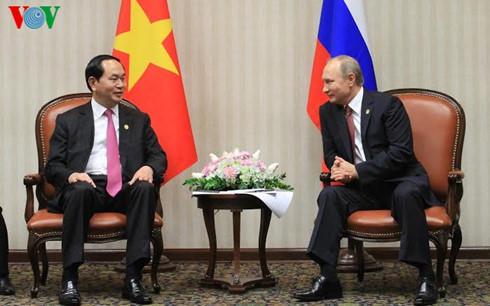 в кулуарах саммита атэс прошла встреча между президентами вьетнама и россии hinh 0