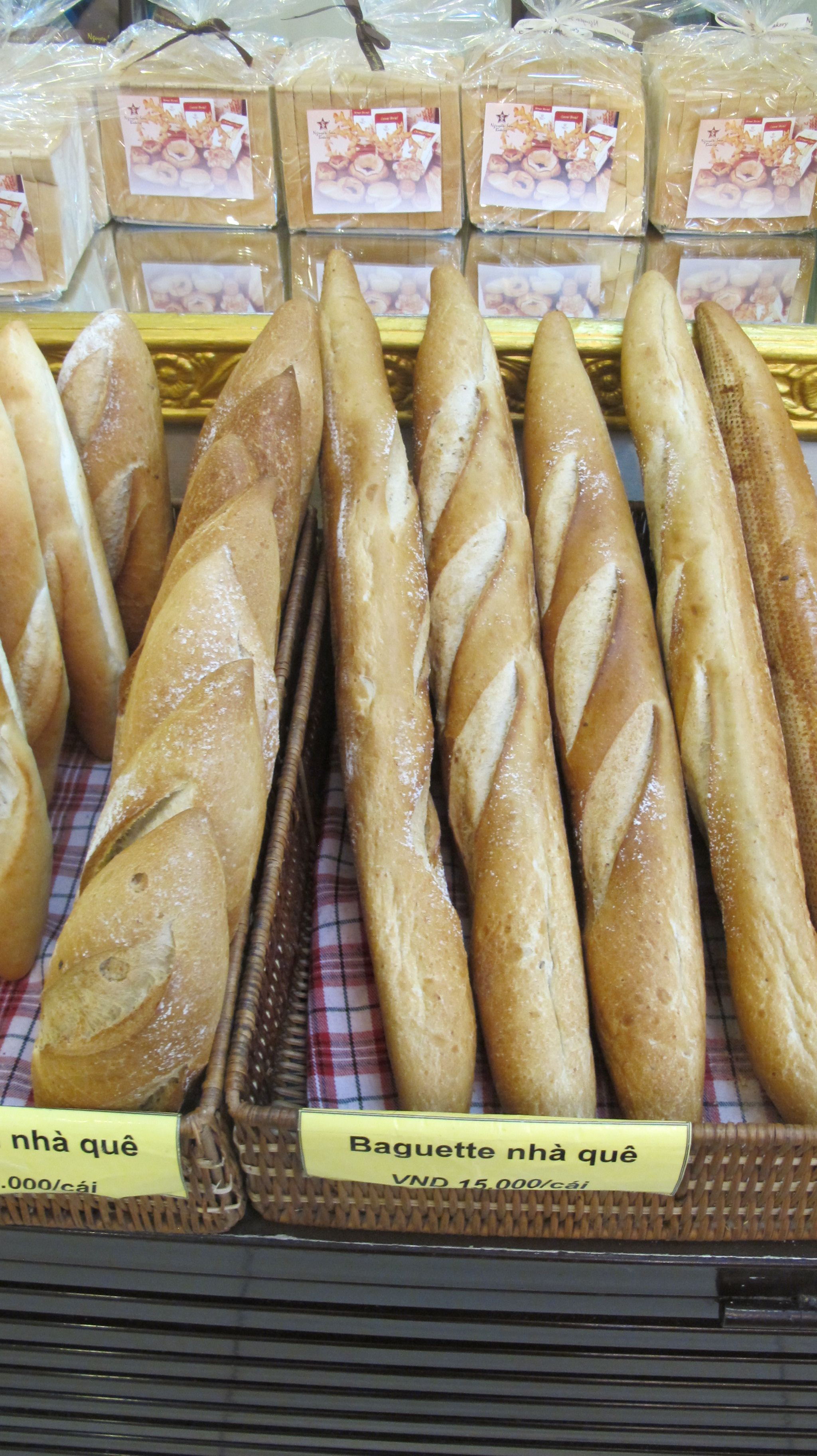 French baguettes and techniques for making the bread from natural yeast leaven