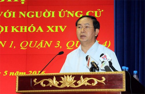 President Tran Dai Quang meets voters in HCM city