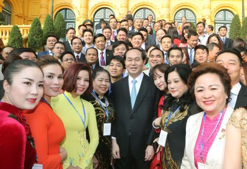 president tran dai quang meets 115 outstanding businesspeople hinh 0