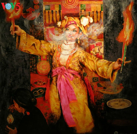 """going into a trance"" ritual depicted in tran tuan long's lacquer paintings  hinh 10"